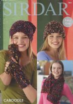 Sirdar Caboodle - 7841 Hats, Wristwarmers & Striped Scarf Knitting Pattern